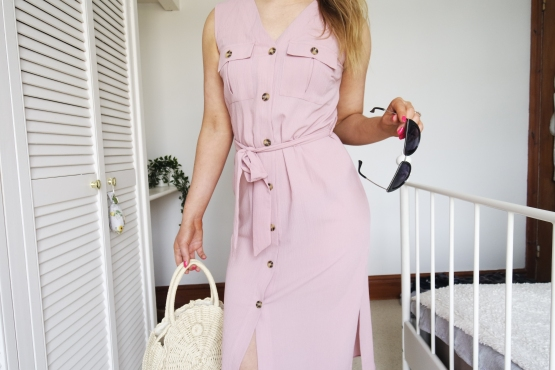 Pastel pink knee length dress with a tie waist from primark