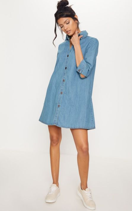 Blue Denim shirt dress from prettylittlething