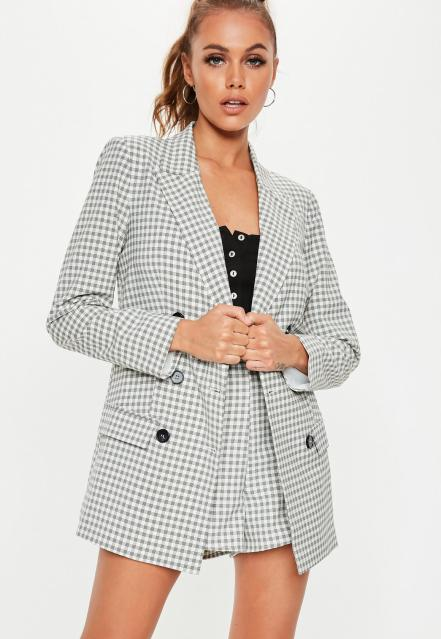 missguided grey and white checked blazer and shorts