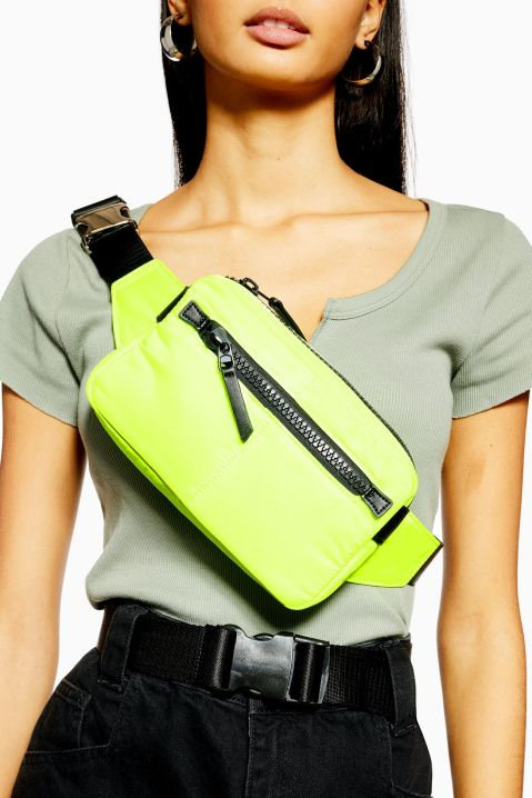 Neon yellow bum bag from topshop